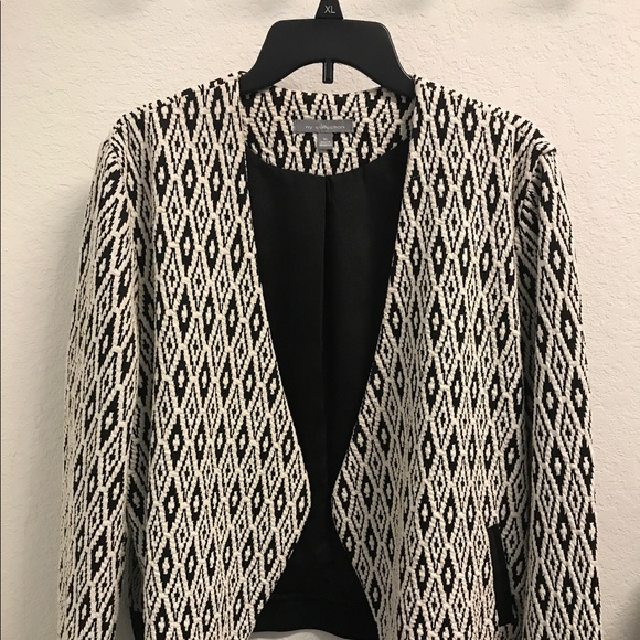 NY Collection Jackets & Blazers - Black and white woven knit blazer